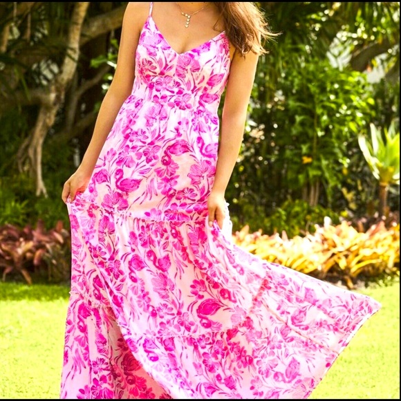 Lilly Melody Maxi Dress Coral Reef Tint Flamingle